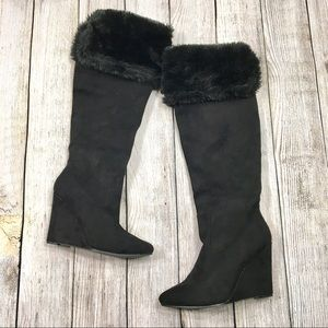 {just fab} Faux Fur Over the Knee Wedged Boots